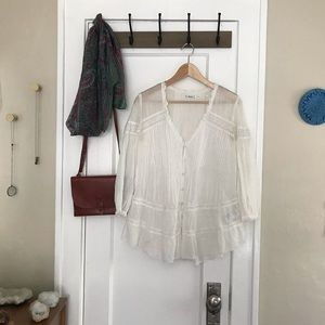 Free People White Peasant Blouse Tunic Top XS